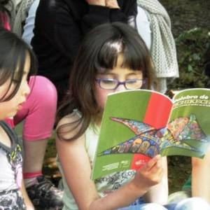 Niños leyendo cuentos en mapudungun, Niebla, Valdivia, Región de Los Ríos