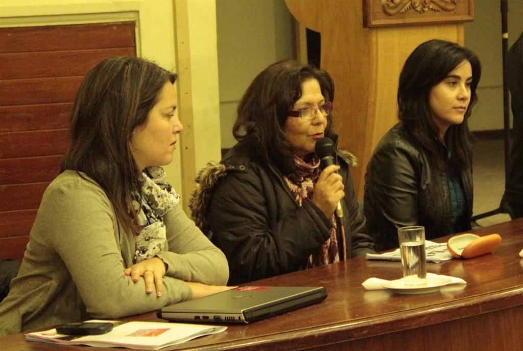 Las directoras regionales de Sernatur y el Consejo de la Cultura, Alicia Ortíz y Marcia Palma, junto a la encargada de Turismo Cultural, Cristina Gálvez.