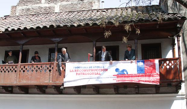 Ministro de Cultura, Luciano Cruz-Coke junto a la alcaldesa (s) de Santiago, María Loreto Silva, dando el puntapié inicial a la 3ra etapa del Programa de Reconstrucción