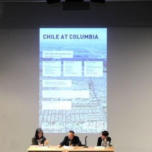 """Chile@Columbia: Conferencia. Panel """"Espacios Públicos"""". Galia Solomonoff (izquierda), Stan Allen (centro) y Romy Hecht (derecha) Créditos: Ellis Mendoza."""