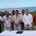Ministro de Cultura, alcalde de Rapa Nui, autoridades y artistas locales