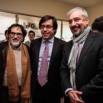 Silvio Caiozzi, cineasta; Guillermo Larraín, Presidente BancoEstado y Ernesto Ottone, ministro de Cultura. / Fotografía: Rodrigo Campusano