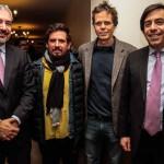 Ernesto Ottone, Ministro de Cultura; Sergio Gándara, presidente de APCT; Andrés Wood, cineasta; y Guillermo Larraín, presidente BancoEstado / Fotografía: Rodrigo Campusano