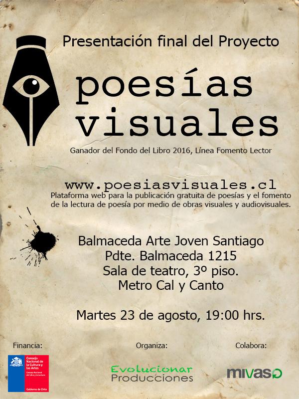 Afiche presentación Poesías Visuales en Santiago
