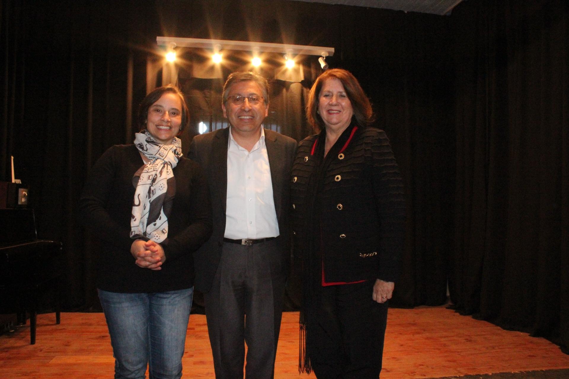 Ximena Nogueira, Directora Regional del CNCA de O'Higgins; Rubén Cerón, Alcalde de Pichidegua y Mirenchu Beitía, Gobernadora de Cachapoal