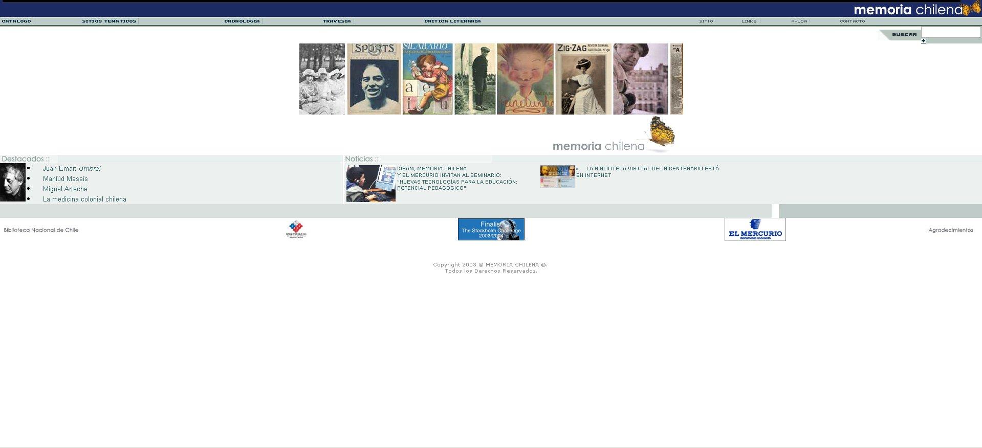 Memoria Chilena, tal como fue lanzado el 3 de octubre de 2003.
