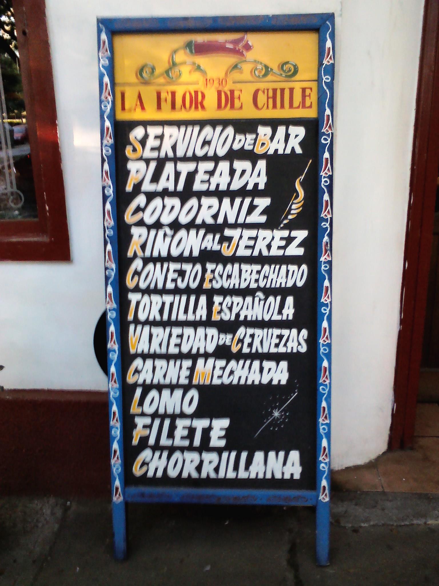 Mejor letrero de picada: La Flor de Chile