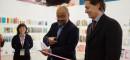 El director de ProChile, Roberto Paiva, y el ministro consejero de la Embajada de Chile en Argentina, Ricardo Hernández, inauguran el pabellón chileno. Crédito: Felipe Abraham.